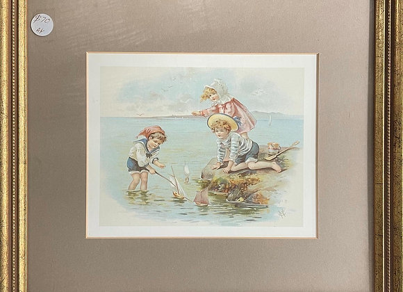 Framed Little print of Kids Playing with the Ships Watercolour (Signed)