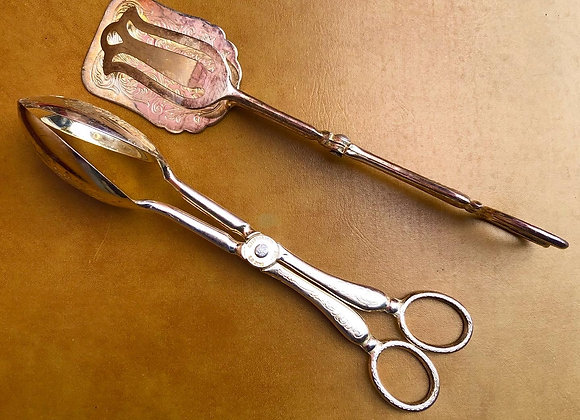 Vintage Silver Plated E. P. Zinc Serving Tongs from Italy