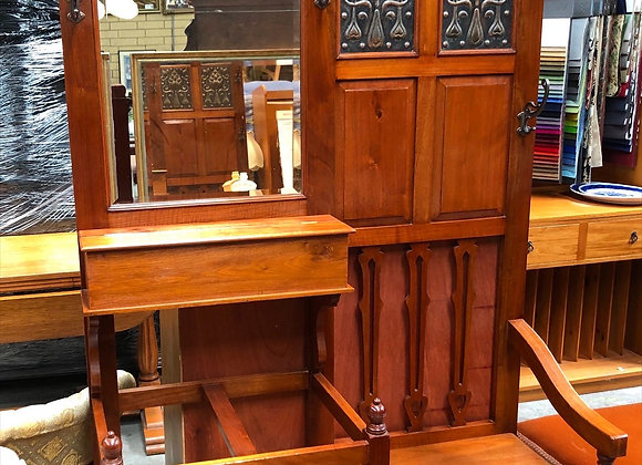 Stunning Edwardian Hall Stand with Copper Inlay