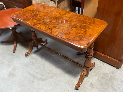 Impressive Antique Burr Walnut Occasional Table on Castors