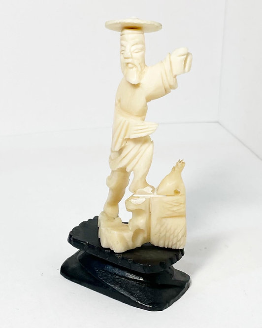 Collectable Japanese Alabaster Figurine of a Fishing Man