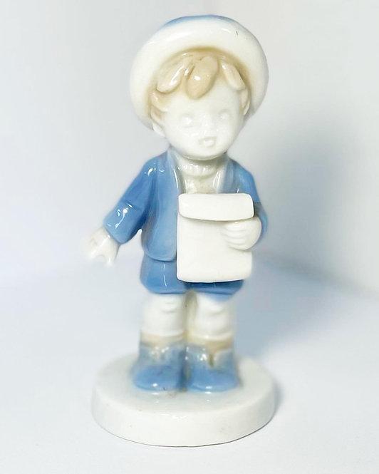 Small Blue & White Glazed Fine Porcelain Boy Holding a Letter Figurine