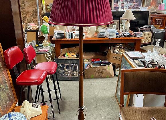 Stunning Original Oak Standing Lamp with Burgundy Shade