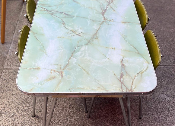 A Set of Retro Mid-Century Dining Table + 4 Upholstered Chairs