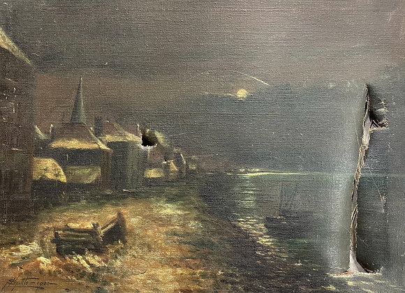 Damaged Oil Painting on Canvas signed by Spiltte (1922)