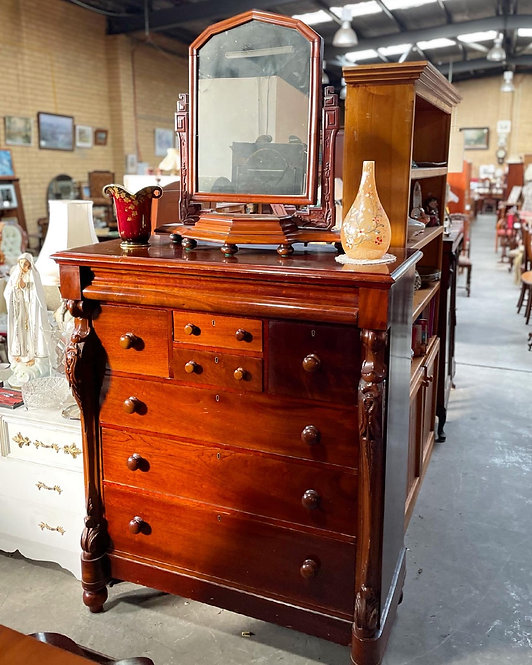 Tall Antique Victorian Chest of Drawers & Dressing Mirror from C.19th Century