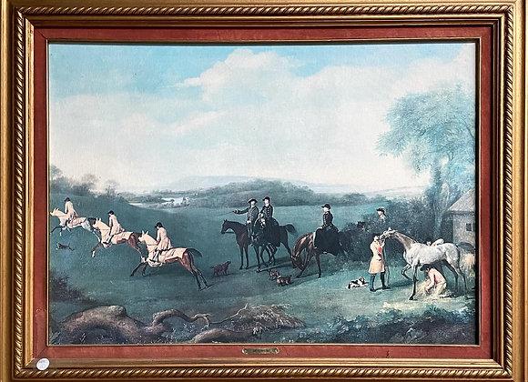 Scenic Print of Meyerheim's Artwork of the Fox Hunters with Ornate Gilded Frame