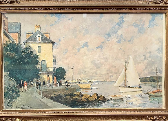 Very Old Print of Paul Emile Sicomto's Oil Painting with Ornate Gilded Frame