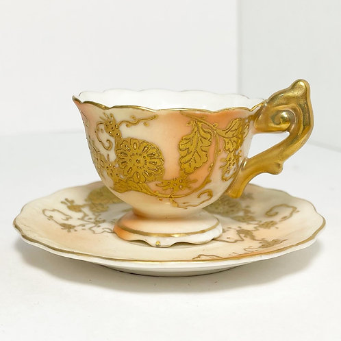 Beautiful Vintage Decorative Floral Cup & Saucer by TS (Japan)
