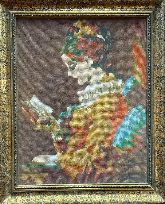 Vintage Framed Aubusson Artwork of a Lady