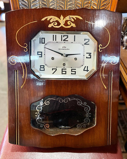Unique 'Odo' Westminster Chime Wall Clock with Walnut Casing from C.1950's (Fran