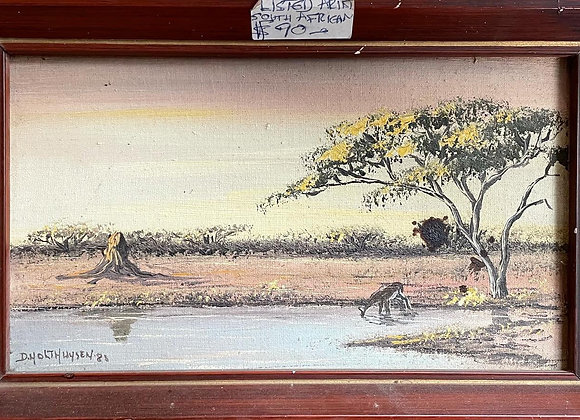 Small Impressive Oil on Canvas Artwork of African Landscape by Dieuwie Holthuyse