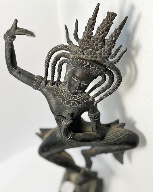 Antique Bronze Statue of an Apsara or Khmer Celestial Dancer (Cambodia)