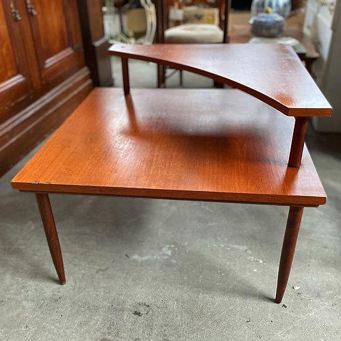 Unique Square Mid-Century Retro Coffee Table w Top Corner Shelf