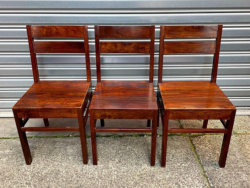 Very Solid Vintage Set of 3 Oak Chairs in Great Condition