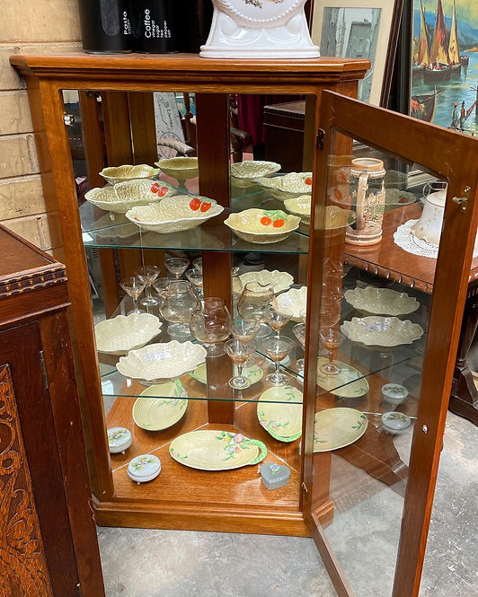 Stunning Solid Oak Corner Display Cabinet in Excellent Condition