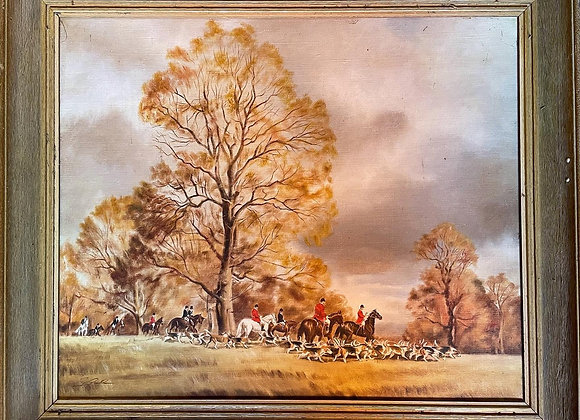 Vintage Landscape Oil Painting of Fox hunters signed by Unknown Artist