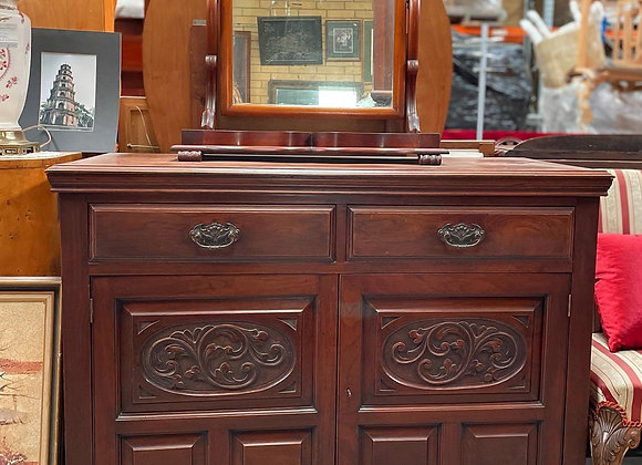 Beautiful Hand-Carved Antique Victorian Walnut Cabinet with 2 Doors & 2 Drawers