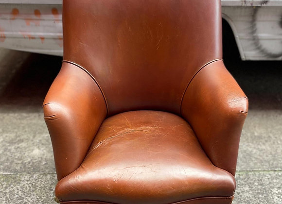 Vintage Leather Swivel Armchair with Claw Foot manufactured by 'MORAN'