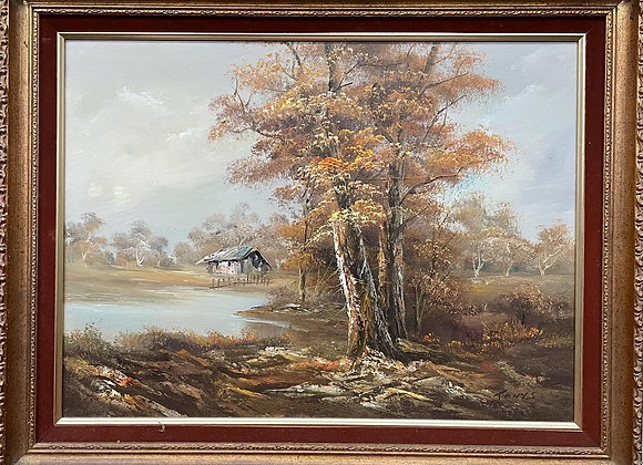 High Quality Vintage Framed Oil on Canvas Landscape Artwork signed by Tony. S