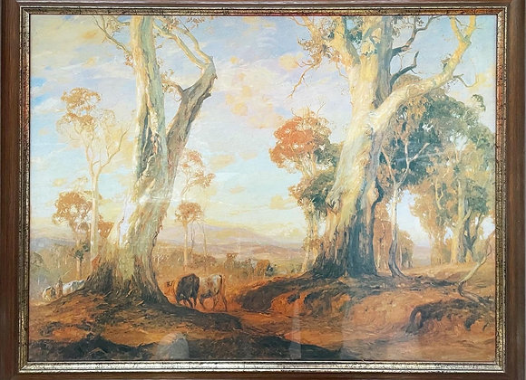 Vintage Print of Impressionist Painting 'Red Gold' by Hans Heysen, 1913