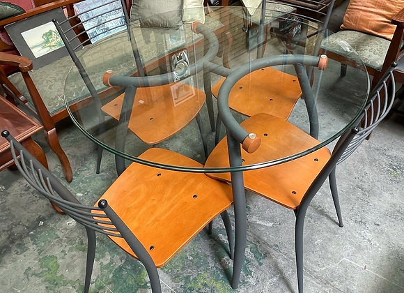 A Modern Set of Round Occasional Glass Top Table & 4 Chairs