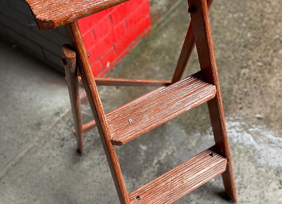 Small Vintage 3-Tier Wooden Step Ladder