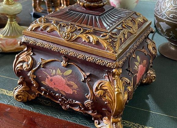 Vintage Floral Hand Painted Jewellery Box