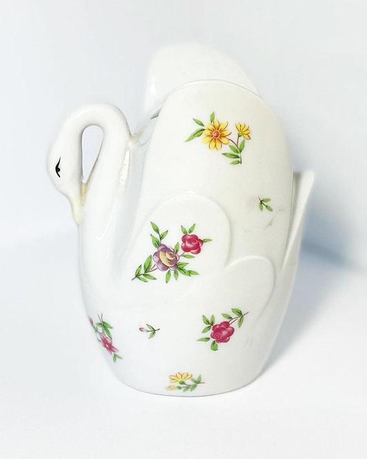 C.60s Glazed Ceramic Flower Frog White Swan Figurine with Floral Motifs