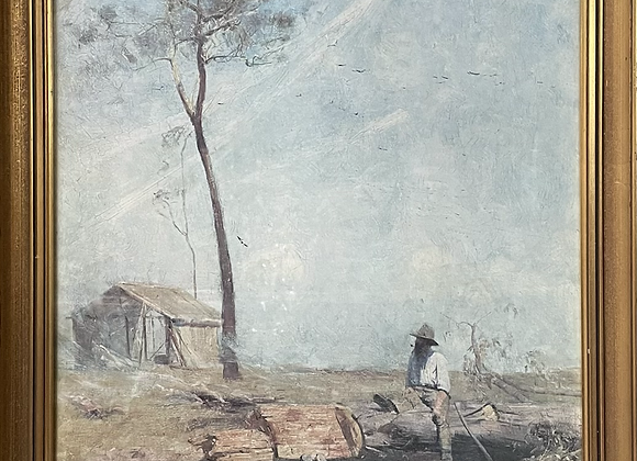 Lovely Print of 'The selector's hut (Whelan on the log) by A. Streeton, 1890's (