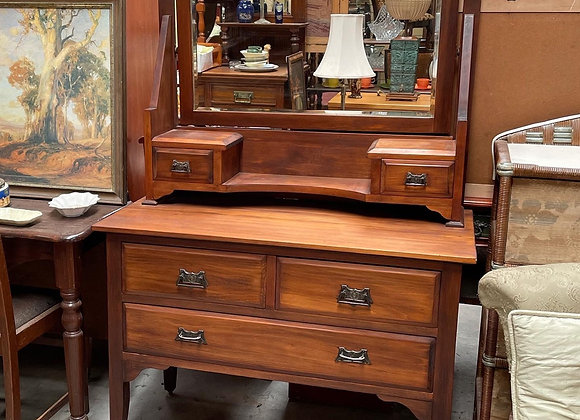 Solid Victorian Kauri Pine Dresser with Bevelled Mirror & Original Castors