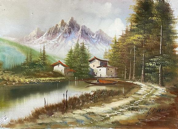 Original Landscape Oil Painting on Canvas of Italian Dolomites by S. Marini (Ita