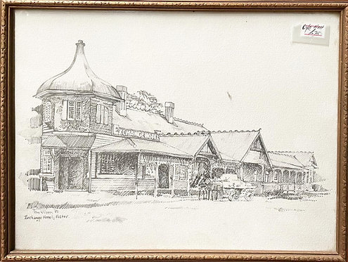 Pencil Sketch 'Exchange Hotel; Foster' in Victoria by Tom Wilson, 1980's (Austra