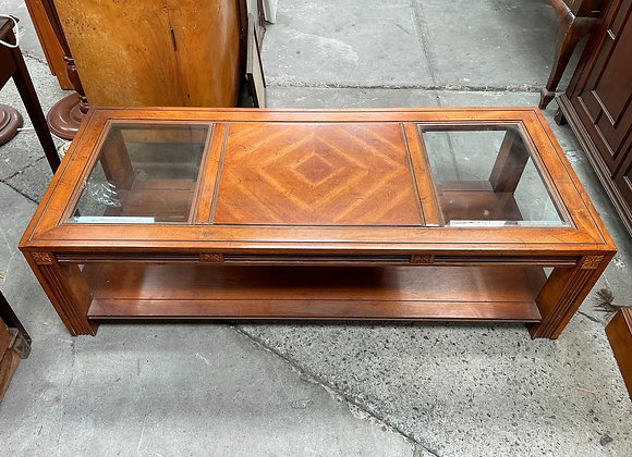 Impressive Coffee Table with Floral Carving Base & 2 Glass Panels