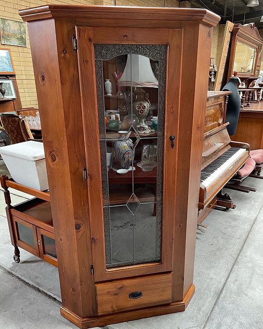 Stunning 1 Door Leadlight Corner Cabinet