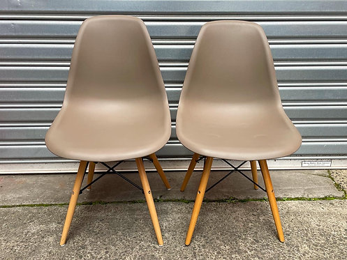 Modern Set of 2 Retro DSW Style Plastic Chairs with Natural Wood Legs