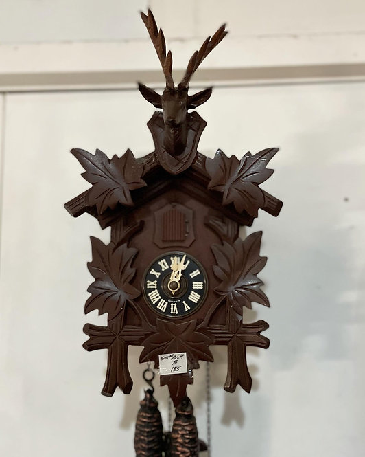 Hand-Carved Wooden Wall Cuckoo Clock in Excellent Working Condition (Germany)
