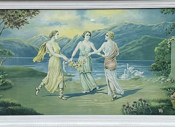 Large Framed Vintage Artwork of 3 Greek Muses Dancing (Australia)
