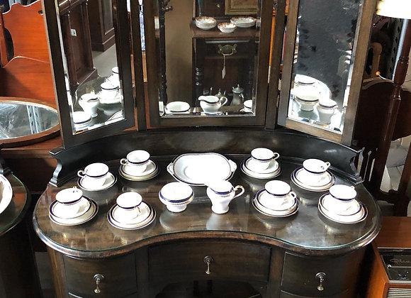 Stunning Kidney Shape Dresser with 3-Part Bevelled Mirror + Glass Top