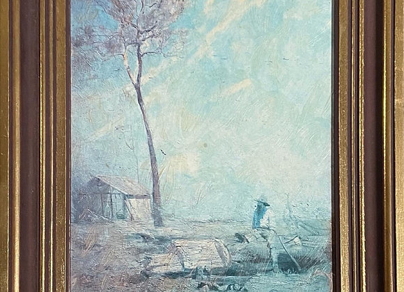 Reproduction of 'The selector's hut (Whelan on the log) by A. Streeton, 1890's
