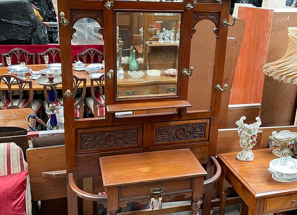 Stunning Antique Victorian Walnut Hall Stand from C. 1850s with Certificate (Eng