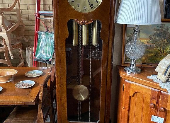 Stunning English Art Deco Oak Casing Grandfather Clock