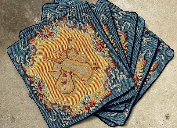 A Beautiful Set of 6 Vintage Blue Cushion Covers with Violin Motifs
