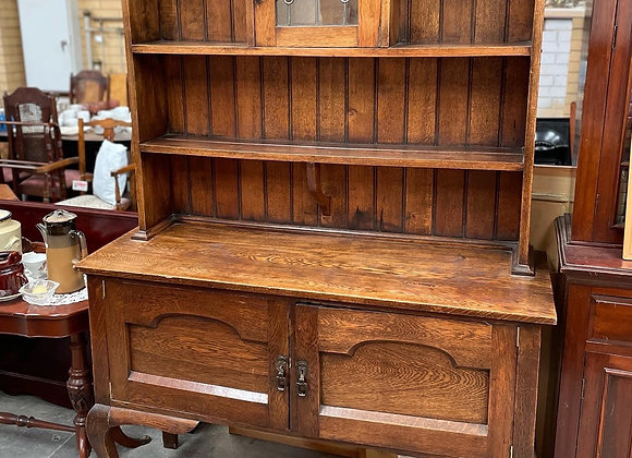 Stunning Oak Sideboard/Kitchen Dresser with Original Leadlight Door from C.1920s