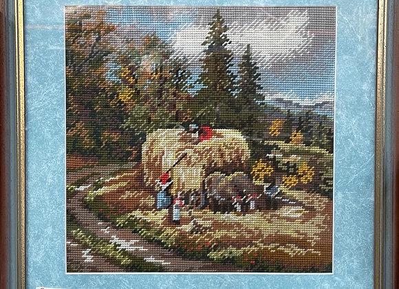 Beautiful Framed Aubusson Artwork of Farmers