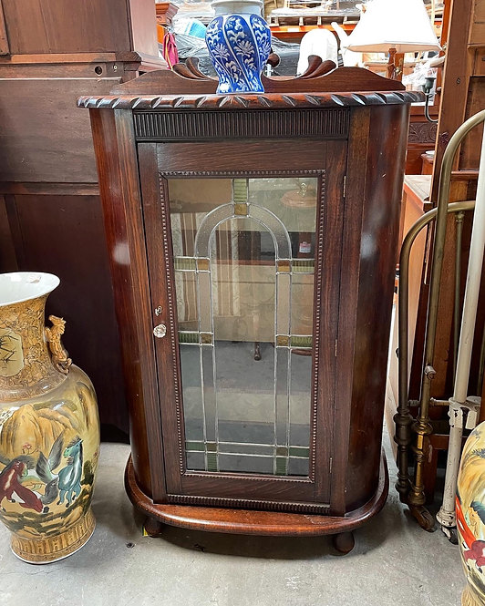 Beautiful Oak Half Round Leadlight Display Cabinet