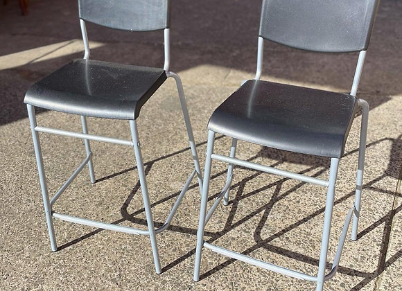 A Set of Two Black Modern Stools in Good Condition