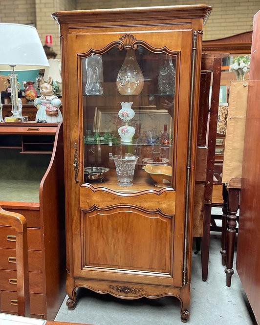 Exceptional Hand-Carved French Antique Curio Display Cabinet with Shell Carving