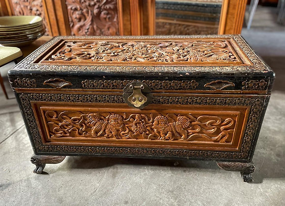 Spectacular Oriental Hand-Carved Trunk in Very Good Condition