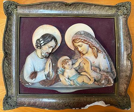 Antique Religious Plaster Artwork of the Holy Family